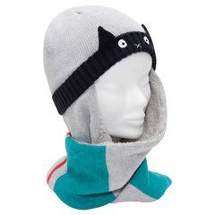 Bonnet écharpe avec détails brodés et doublure sherpa