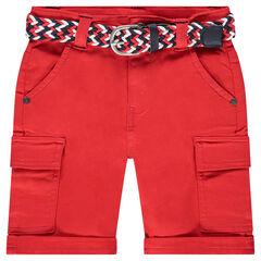 Rode bermuda van katoen met verwijderbare, gevlochten riem