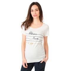Tee-shirt manches courtes de grossesse avec inscriptions fantaisie