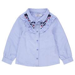 """Hemd met lange mouwen, fijne strepen """"all-over"""" en borduurwerk"""