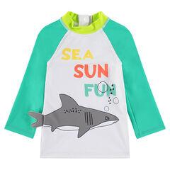 Anti-uv zwem-T-shirt met haai en print met boodschap