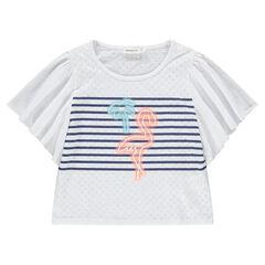 Junior - T-shirt met korte mouwen met volants en print met roze flamingo
