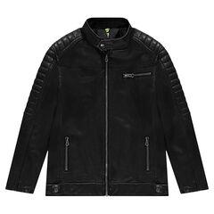 Junior - Veste style motard effet cuir à poches zippées