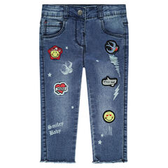 Jeans met used effect en ©Smiley badges