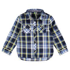Hemd met lange mouwen, contrasterende ruiten blauw/anijs en zakken