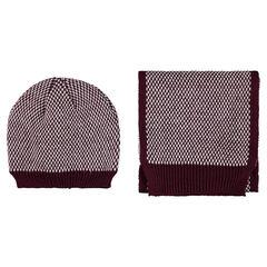 Setje muts sjaal in tricot met motif met jacquard