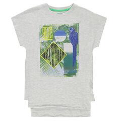 Junior - Lang T-shirt met korte mouwen, fantasieprint en vogel