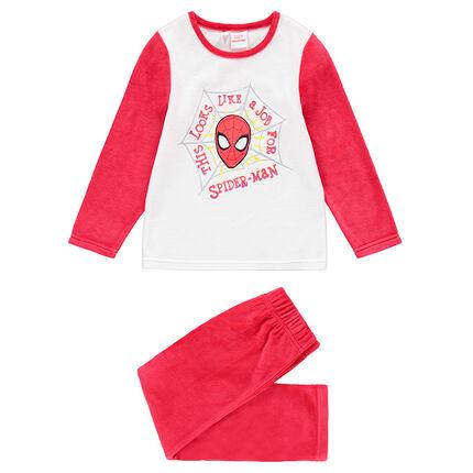Tweekleurige pyjama van velours met print van ©Marvel's Spiderman