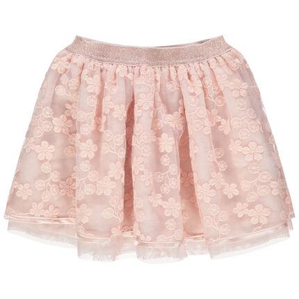 Korte rok van tule met geborduurde bloemen en blinkende taille