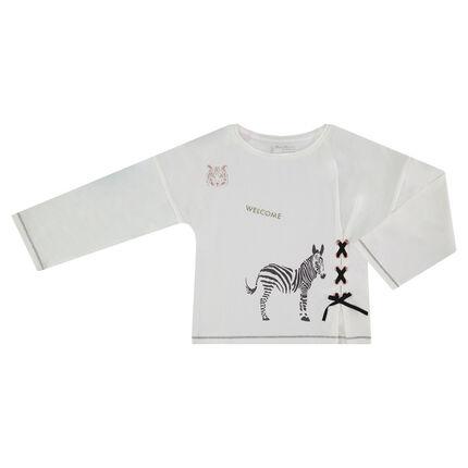T-shirt met lange mouwen, blinkende prints en decoratieve vetersluiting