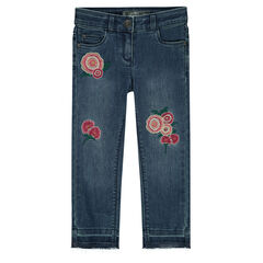 Junior - Jeans effet used avec roses brodées