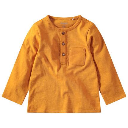 T-shirt manches longues en jersey slub avec poche plaquée