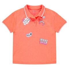 Polo manches courtes orange avec prints fantaisie