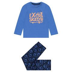 Pyjama van jerseystof met geprinte skateboards en vliegende schotels