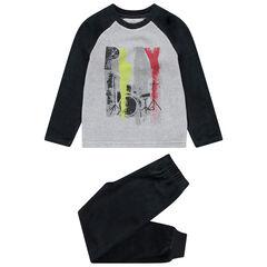 Pyjama en velours bicolore avec print style rock
