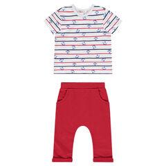 Ensemble tee-shirt manches courtes imprimé singes et pantalon uni
