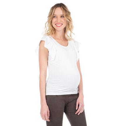 Zwangerschapsshirt met korte mouwen en volants