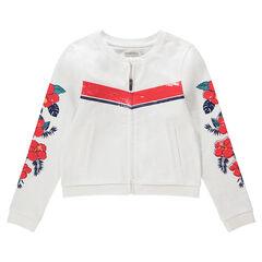 Junior - Vest van molton met ritssluiting en bloemenprint
