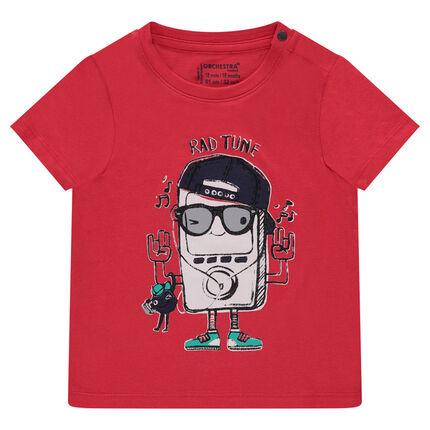 Effen T-shirt met korte mouwen en fantasieprint