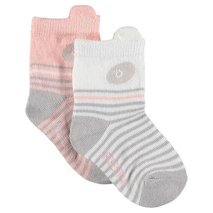 Lot de 2 paires de chaussettes assorties avec motif panda et rayures