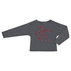 Junior - Gestreept t-shirt met lange mouwen en boodschap met pailletjes