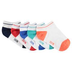Set met 5 paar korte sokken met contrasterende neus en hiel