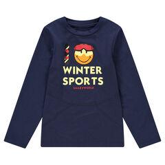 T-shirt met lange mouwen van jerseystof met ©Smiley-print op de voorzijde