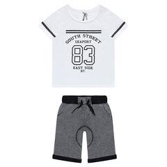Junior - Ensemble van t-shirt met korte mouwen met print en bermuda uit molton