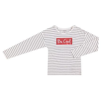 T-shirt met lange mouwen met strepen van jacquard en print met pailletjes