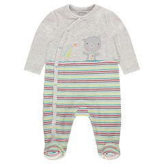 Pyjama van velours met opgestikte beer en contrasterende strepen