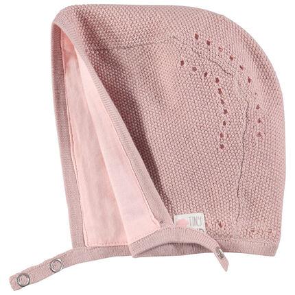 Bonnet en tricot doublé jersey rose