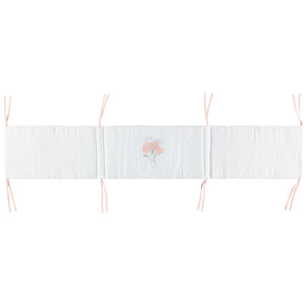 Tour de lit en popeline de coton à nouettes contrastées
