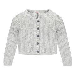 Gemêleerde vest met ajour stippenprint met pailleteffect