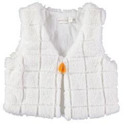 Vest van sherpastof met ruitjes en pompon