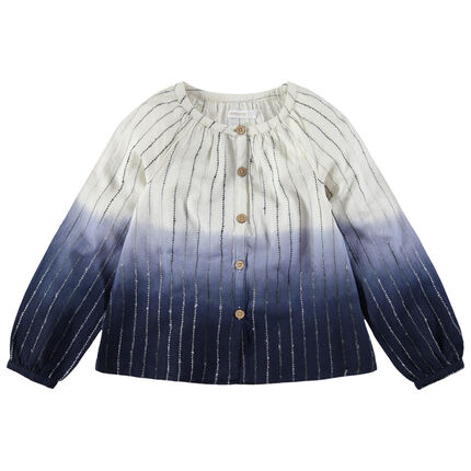 Junior - Chemise manches longues effet tie and dye avec rayures en jacquard