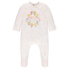 Pyjama uit jerseystof met stippen- en bloemenprint