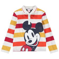 Polo met lange mouwen uit gestreepte jerseystof met print van Disney Mickey