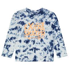 T-shirt met lange mouwen in jerseystof met shibori-effect.
