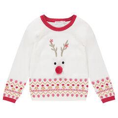Kersttrui van tricot met rendier en jacquardmotieven