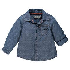 Chemise manches longues à motif jacquard sur chambray et poche