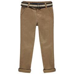 Pantalon droit à ceinture rayée amovible