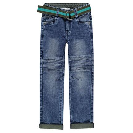 Jeans met used en crinkle effect en afneembare en verstelbare riem