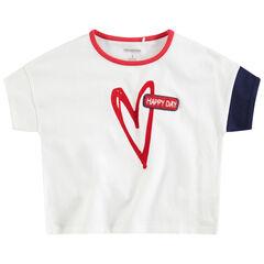 T-shirt met korte mouwen uit jerseystof met print met hartje en badge van bouclé