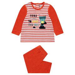 Pyjama van velours met strepen en dierenprint