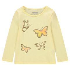T-shirt met lange mouwen van jerseystof met print met gouden vlinders