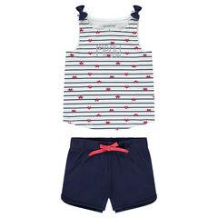 Pyjama van jerseystof met contrasterende strepen en effen short
