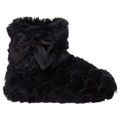 Chaussons noirs forme bottines en fausse fourrure avec noeud