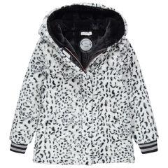 Junior - Manteau à capuche en sherpa imprimé léopard doublé sherpa