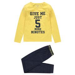 Junior - Pyjama van jerseystof met boodschap met print in sportieve stijl