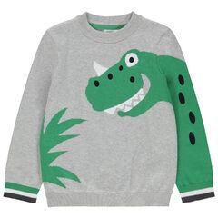 Pull en tricot avec dinosaure en jacquard